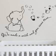 Adorable We Made A Wish Baby Elephant Wall Decal Sticker For Nursery S Elephant Nursery Decor Elephant Nursery Elephant Baby Rooms