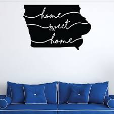 Amazon Com Iowa Wall Decal Home Sweet Home State Silhouette Vinyl Art For Home Decor Living Room Or Family Room Decoration Handmade