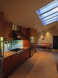 glass block wall above countertop