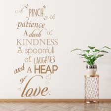 A Pinch Of Patience Wall Sticker Kitchen Quotes Wall Decal Love Home Decor Ebay