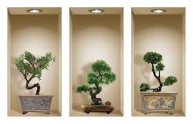 Free Shipping Set 3 Bonsai Wall Sticker 3d Art Magic Niche Etsy