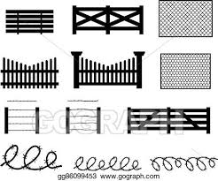 Vector Clipart Set Of Rural Fences In Silhouette Style Vector Illustration Gg86099453 Gograph