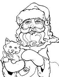 Kleuren Nu Portret Kerstman Met Poes Kleurplaten