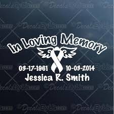 Save Now On In Loving Memory Cancer Ribbon Car Decals