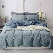 blue grey solid duvet cover set queen