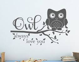 Owl Wall Decal On Etsy A Global Handmade And Vintage Marketplace Owl Wall Decals Owl Decor Owl Wall
