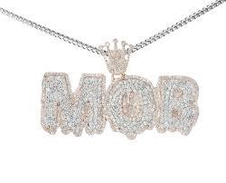 rose gold 10k mens diamond pendant mob
