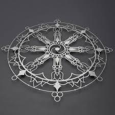 Tibetan Dharma Wheel Metal Wall Art Sculpture Buddhist Etsy