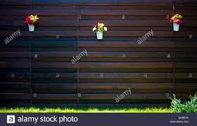 Hanging Flower Pots Fence High Resolution Stock Photography And Images Alamy