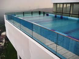 Infinity Swimming Pool Edge Wall Glass Glass Malaysia Glass Renovation Idea Residential Glass
