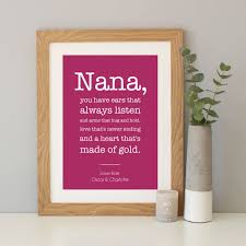 personalised grandma nanny gift by hope and love