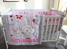 winlife pink rabbit crib bedding set