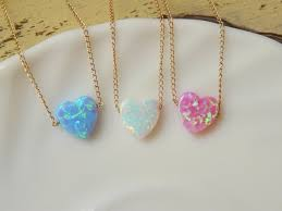 opal heart necklace valentines day gift