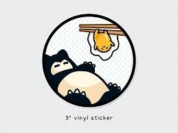 Snorlax Gudetama Pokemon X San X 3 Vinyl Sticker Mushimoo