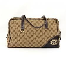 dark brown leather monogram canvas handbag