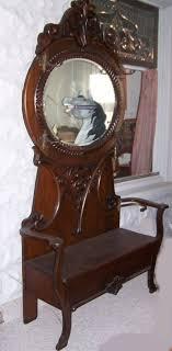 large antique oval mirror oak hall tree