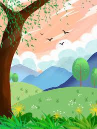 ومن ناحية رسم خلفية الربيع الصفصاف تصميم العشب الصفصاف خلفيات
