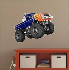 Amazon Com Monster Truck Wall Decal Vinyl Graphic Sticker Cartoon Car Truck Decal Grave Digger Flames Bigfoot Ford Kids Den Man Cave Boys 36 Home Kitchen