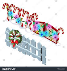 Element Wooden Fence Candy Cane Christmas Stock Vector Royalty Free 1016043754