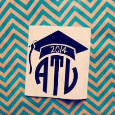 Graduation Cap Monogram Decal Car Sticker From Threeinitials On