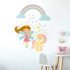 Fairy Wall Decal Unicorn Wall Decal Sticker Rainbow Stars Wall Decal Girls Room Ebay