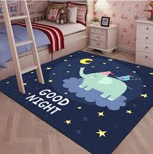 Square Cute Cartoon Children S Rugs Good Night Cartoon Elephant Contemporary Kids Rugs By Blancho Bedding