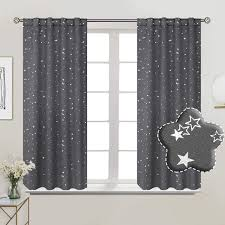 Amazon Com Bgment Rod Pocket And Back Tab Blackout Curtains For Kids Bedroom Sparkly Star Printed Thermal Insulated Room Darkening Curtain For Nursery 38 X 54 Inch 2 Panels Grey Home Kitchen