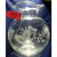 etched wheel cut glass vase