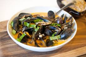 Coconut Curry Mussels with Coconut ...