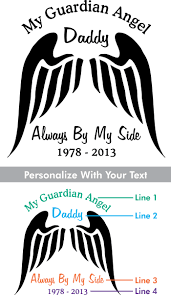 Custom Memorial Guardian Angel Style 4 Vinyl Die Cut Car Decal Starting At 9 99 Angel Names In Loving Memory Car Window Decals