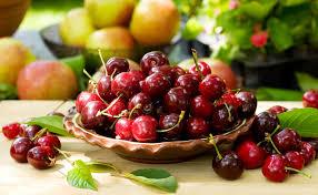 تحميل خلفيات الكرز لوحة التفاح الفواكه أوراق الفاكهة التوت