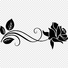 Black Rose Illustration Garden Roses Silhouette Drawing Stencil Rose Leaf Branch Logo Png Pngwing