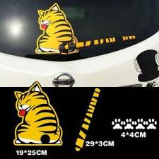 Cartoon Yellow Cat Wagging Tail Car Rear Winshield Wiper Blade Window Decal Ebay