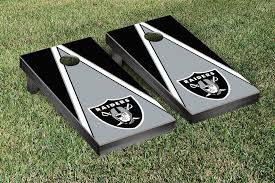 Oakland Raiders Nfl Football Cornhole Game Set Triangle Version Corn Hole Game Cornhole Game Sets Bag Toss Game