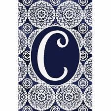 indigo boho monogram letter c flag