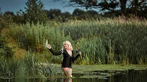 woman fishing fishing rod fish lake