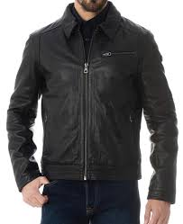 shirt collar black leather jacket
