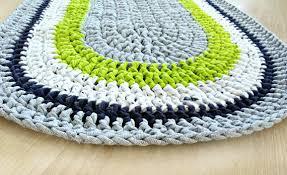rag rug gray oval rug crochet rug