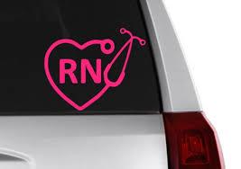 Rn Decal Nurse Decal Rn Heart Decal Stethoscope Car Etsy