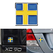 Sweden Flag Emblem Front Grill Rear Trunk Badge Decal Sticker For Volvo S60 V60 S80 Xc60 Xc90 Car Styling Decorative Accessories Emblems Aliexpress