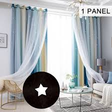 Star Curtains Stars Blackout Curtains For Kids Girls Bedroom Living Room Colorful Double Layer Star Window Curtains 1 Panel 53 W X 108 L Blue Walmart Com Walmart Com