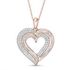 round diamond heart pendant in 10k rose