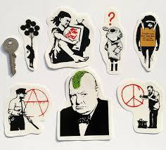 Banksy Sticker Set On Clear Vinyl Decal Pack Car Bike Street Art Graffiti Skate Decor Decals Stickers Vinyl Art Home Garden Worldenergy Ae