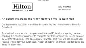 hilton honors to close ping portal