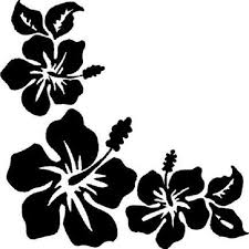3 Hibiscus Flowers Corner Window Decal In 2020 Flower Stencil Flower Silhouette Flower Art