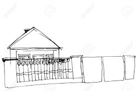 Black And White Vector Sketch Of A House Behind An Iron Fence Royalty Free Cliparts Vectors And Stock Illustration Image 51212287
