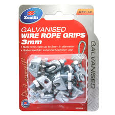 Zenith 3mm Galvanised Wire Rope Grips 12 Pack Bunnings Warehouse