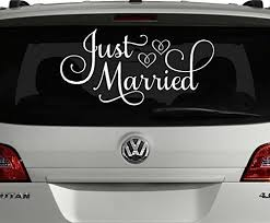 Amazon Com Just Married Car Decal Car Decorations For Wedding White 24 Wx12 H Just Married Window Sticker Handmade
