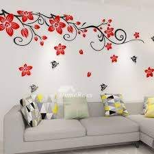 Flower Wall Decals Acrylic 3d Self Adhesive Living Room Decorative