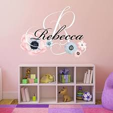 Amazon Com Nursery Water Color Flowers Personalized Custom Name And Initial Wall Decal Sticker 20 W By 19 H Girls Name Wall Decal Baby Girl Wall Decor Girls Decor Bedroom Plus Free Hello Door